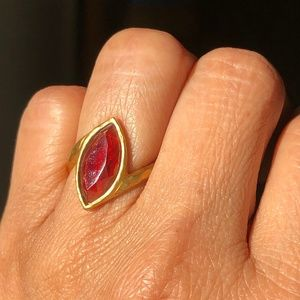 Gold and Red Garnet Ring | Satya Jewelry